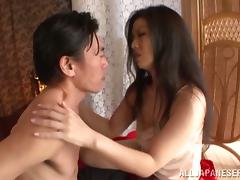 Amazing Japanese housewife is enjoying a big cock in her muff
