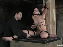Two amazing girls get clothespinned and tied up