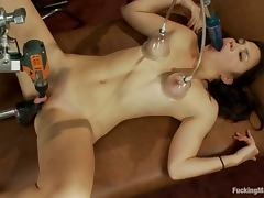Fucking Machine Banging Kiki Koi's Craving Pussy and Asshole