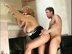 Louisa gets hot at the fireplace 3
