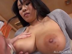 Busty Japaneses hottie bends over for an old fart