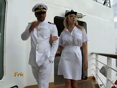 Busty blond stewardess fucks her captain tube porn video