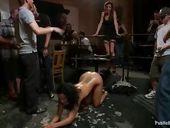 Sexy brunette chick gets punished and fucked by a few dudes