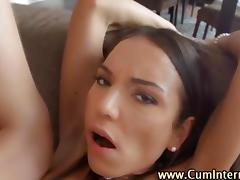 Sluts threeway ass fuck and enjoy a creampie