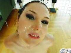 Nicole evans sucks off four horny guys