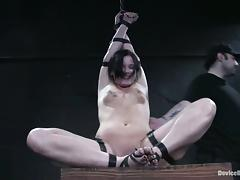 Suspended girls prefers being bondaged in a yoke porn tube video
