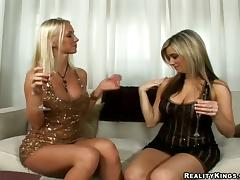 Glamorous blonde chicks eat and toy their pussies