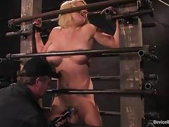 Krissy Lynn gets her big tits pressed in kinky BDSM vid