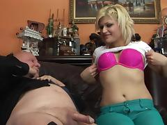 Gorgeous blonde milf gets pounded by grandpa