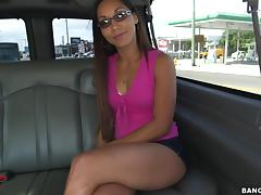 Horny chick gets in the van and spread her legs wide