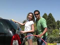 Sexy Laysa washes a car and rides big cock like a wild animal