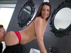 Pornstar wearing panties gets fucked doggy style