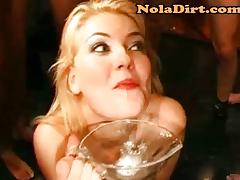Sexy Blonde Drinks A Bowl Of Cum