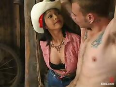 Hot chick in cowboy hat ties a guy up and toy his ass