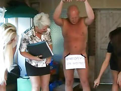 CFNM femdoms in group humiliating their pathetic sub porn tube video