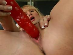 Blonde milf enjoys sex toy m22