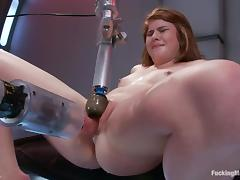Stunning Ruby Song is being delighted with a fucking machine porn tube video