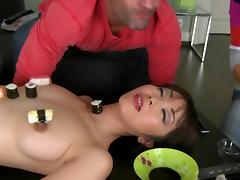 Asian lady fuck with two hard dicks