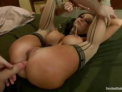 Ava Addams gets her mouth and ass fucked by James Deen in BDSM scene