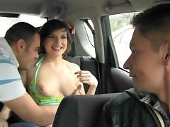 Car, Anal, Blowjob, Boobs, Brunette, Car