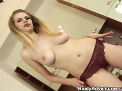 Blonde babe enjoys sucking and riding a cock in the kitchen
