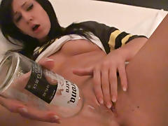 Teen brunette bangs her pink pearl with a bottle