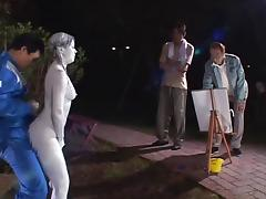 Cosplay Porn: Public Painted Statue Fuck part 3