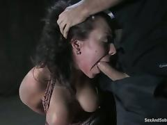 babe loves having a huge cock in her twat with a gag in her mouth