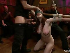 Redhead beauty gets tied up and fucked at the bar porn tube video