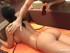 Black Angelika gets her holes fingered and pounded on the poolside
