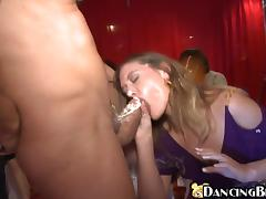 Slutty bitch sucks big dick and gets nailed at a party