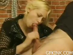 Sexy blonde gets spanked before giving head