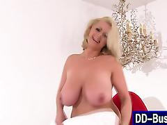 Blonde with big tits sucks
