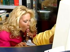 Hot blonde gets fucked hard at her work place