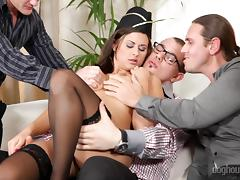 Gangbang, Banging, Brunette, Gagging, Gangbang, Group