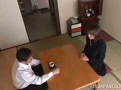 Juicy Japanese honey gets fucked after business meeting