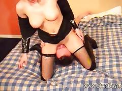 Made to worship her pussy and asshole