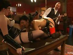 A few hot chicks get tied up and tormented by a group of people