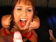 Two brunettes wearing stockings get fucked in a gangbang