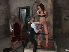 Brunette Sara Faye Dominated and Strapon Fucked by Aiden Starr