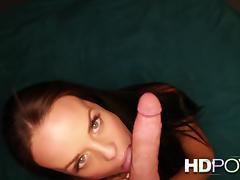 HD POV: Long haired brunette making you cum