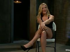 Blondie gets belted, twitched and banged with a strapon