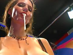 German brunette Viktoria swallows nasty load tube porn video