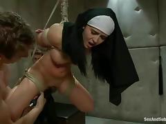 BDSM style double penetration for a kinky nun tube porn video