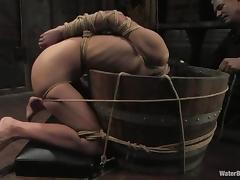 Skinny Amber Rayne gets tied up and drowned in water