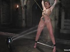 Tattoed redhead honey gets hogtied and immersed