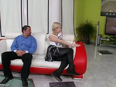 Spanking, Blonde, Blowjob, Couple, Cowgirl, Doggystyle
