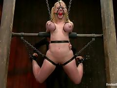 Busty blonde in latex gets tortured and toyed rough