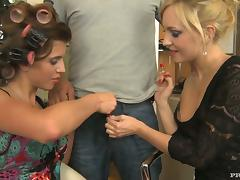 Kristyna Kristal and Nataly Von get all their holes smashed in a foursome tube porn video