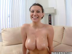 Hot ride on the couch with a curvy and oiled milf Sara Stone porn tube video
